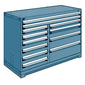 """Rousseau Metal 12 Drawer Counter High 60""""W Multi-Drawer Cabinet - Everest Blue"""