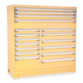 "Rousseau Metal 17 Drawer Full Height 60""W Multi-Drawer Cabinet - Beige"