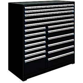 "Rousseau Metal 18 Drawer Full Height 60""W Multi-Drawer Cabinet - Black"