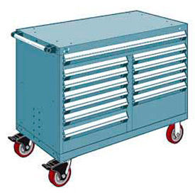 "Rousseau Metal 12 Drawer Mobile Multi-Drawer Cabinet - 48""Wx24""Dx37-1/2""H Everest Blue"