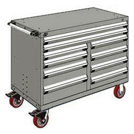 "Rousseau Metal 10 Drawer Mobile Multi-Drawer Cabinet - 48""Wx24""Dx37-1/2""H Light Gray"