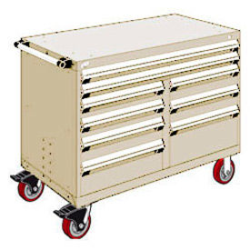 """Rousseau Metal 9 Drawer Mobile Multi-Drawer Cabinet - 48""""Wx24""""Dx37-1/2""""H Beige"""