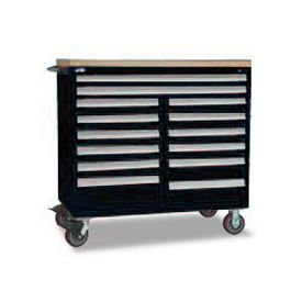 "Rousseau Metal 14 Drawer Mobile Multi-Drawer Cabinet - 48""Wx24""Dx45-1/2""H Black"