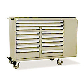 """Rousseau Metal 14 Drawer Mobile Multi-Drawer Cabinet - 62""""Wx24""""Dx45-1/2""""H Beige"""