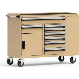 """Rousseau Metal 8 Drawer Mobile Multi-Drawer Cabinet - 62""""Wx24""""Dx45-1/2""""H Beige"""