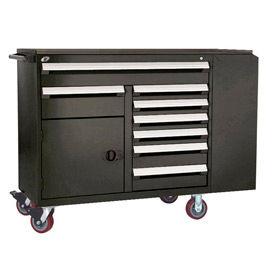 "Rousseau Metal 8 Drawer Mobile Multi-Drawer Cabinet - 62""Wx24""Dx45-1/2""H Black"