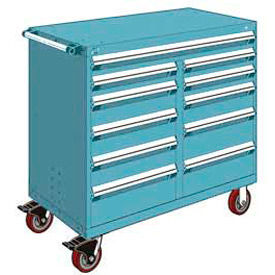 "Rousseau Metal 11 Drawer Mobile Multi-Drawer Cabinet - 48""Wx24""Dx45-1/2""H Everest Blue"