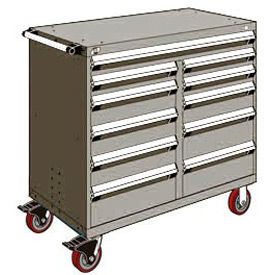 "Rousseau Metal 11 Drawer Mobile Multi-Drawer Cabinet - 48""Wx24""Dx45-1/2""H Light Gray"