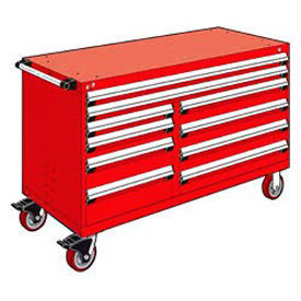 """Rousseau Metal 10 Drawer Mobile Multi-Drawer Cabinet - 60""""Wx24""""Dx37-1/2""""H Red"""