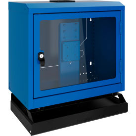 Rousseau Wall-Mounted Cabinet With Polycarbonate Door, Keyboard & Mouse Support, Avalanche Blue