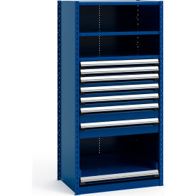 """Steel Shelving 36""""Wx24""""Dx75""""H Closed 4 Shelf 7 Drawer Avalanche Blue"""
