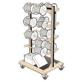 """Mobile Reel Rack 32""""W x 27""""D x 59-1/4""""H Bottom Shelf 8 Storage Rods Beige"""