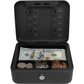 "Royal Sovereign Compact Cash Box RSCB-100, 4-Compartment, 7-7/8""W x 6-1/2""D x 3-1/2""H Black"