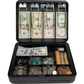 "Royal Sovereign Deluxe Cash Box RSCB-300, 13-Compartment, Tray, 11-13/16""Wx9-1/2""D x 3-11/16""H Black"