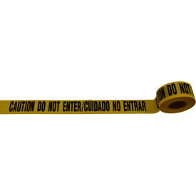 """Caution Do Not Enter / Cuidado No Entrar"" Barricade Tape, Yellow Tape/Black Print, 3"" x 1000' by"