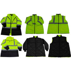 Petra Roc Two Tone Waterproof 6-In-1 Parka Jacket, ANSI Class 3, Lime/Black, Size L by