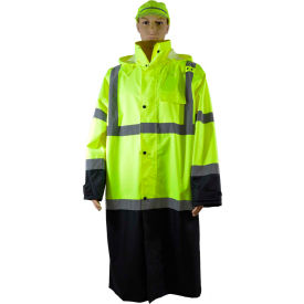 "Petra Roc 48"" Two Tone Waterproof Rain Coat, ANSI Class 3, Lime/Black, Size 3XL"