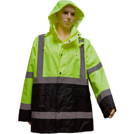 Petra Roc Rain Parka Jacket, ANSI Class 3, 300D Oxford/PU Coating, Lime/Black, S by
