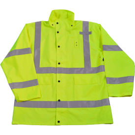 Petra Roc HiVis Rain Parka Jacket, ANSI Class 3, 300D Oxford/PU Coating, Lime, M by
