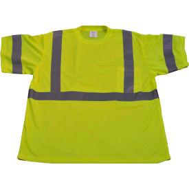 Petra Roc ANSI Class 3 Short Sleeve T-Shirt, Polyester Birdseye Mesh, Lime, Size 3XL