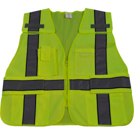 Petra Roc Two Tone Expandable 5-Point Breakaway Public Safety Vest, ANSI Class 2, Lime/Navy, S-XL