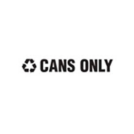 "Recycling Decals ""Cans Only"" - Black 1""H X 8""W Pkg Qty 1"