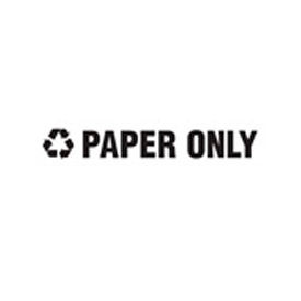"""Recycling Decals """"Paper Only"""" - Black 1""""H X 8""""W Pkg Qty 1"""