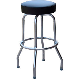"24"" Backless Swivel Bar Stool with Chrome Frame and Black Seat by"