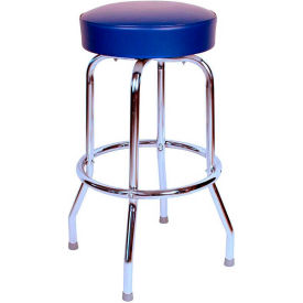 "30"" Backless Swivel Bar Stool with Chrome Frame and Blue Seat by"