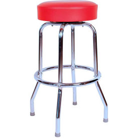 "24"" Backless Swivel Bar Stool with Chrome Frame and Red Seat by"