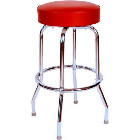 "24"" Backless Swivel Bar Stool with Chrome Frame and Wine Seat by"