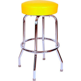 "24"" Backless Swivel Bar Stool with Chrome Frame and Yellow Seat by"