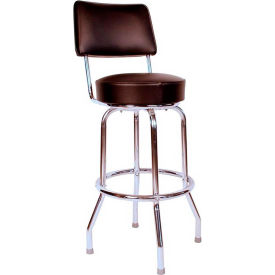 "24"" Swivel Bar Stool with Back Chrome Frame and Black Seat by"