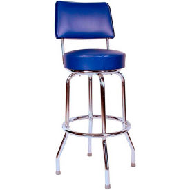 "24"" Swivel Bar Stool with Back Chrome Frame and Blue Seat by"