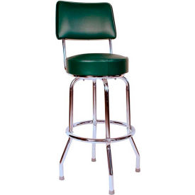 "30"" Swivel Bar Stool with Back Chrome Frame and Green Seat by"