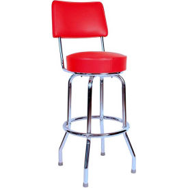 "24"" Swivel Bar Stool with Back Chrome Frame and Red Seat by"