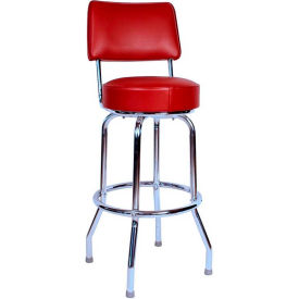 "24"" Swivel Bar Stool with Back Chrome Frame and Wine Seat by"