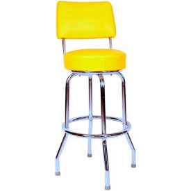"24"" Swivel Bar Stool with Back Chrome Frame and Yellow Seat by"