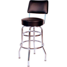 "30"" Double Ring Swivel Bar Stool with Back Chrome Frame and Black Seat by"