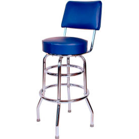 "30"" Double Ring Swivel Bar Stool with Back Chrome Frame and Blue Seat by"