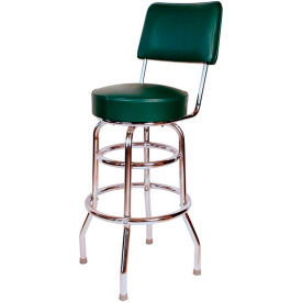 "30"" Double Ring Swivel Bar Stool with Back Chrome Frame and Green Seat by"