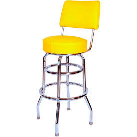 "30"" Double Ring Swivel Bar Stool with Back Chrome Frame and Yellow Seat by"
