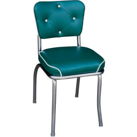 "Chrome Diner Chair with Button Tufted Back and Green 2"" Waterfall Seat"