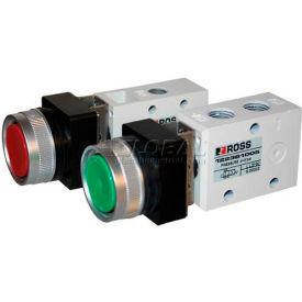 """ROSS® Pneumatic Flush Red Push Button Valve D1223B2FPR, 1/4"""" BSPP"""