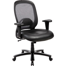 Techni Mobili Comfy Big and Tall Mesh Office Computer Chair - Leather Seat - Black