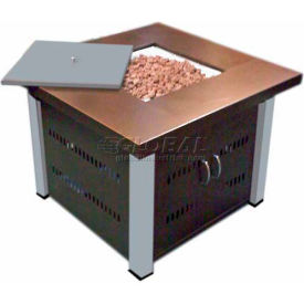 Hiland Fire Pit GS-F-PC-SS Propane 31000 BTU Square Antique Bronze/Stainless Steel