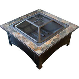 "Hiland Fire Pit YFP-51133D Wood Burning 36"" Square Slate"