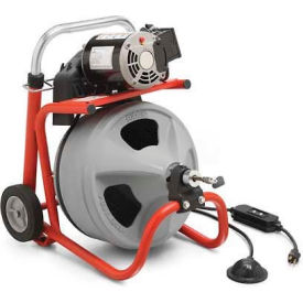 "RIDGID K-400 Drum Machine W/Bulb Auger & Gloves, 115V, 6.7AMPS, 1/3HP, 75""L x 1/2""W Cable by"