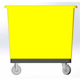 8 Bushel capacity-Mold in caster bracket and plastic reinforcement base- Yellow Color