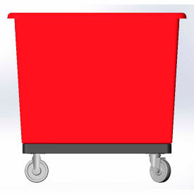 14 Bushel capacity-Mold in caster bracket and plastic reinforcement base- Red Color